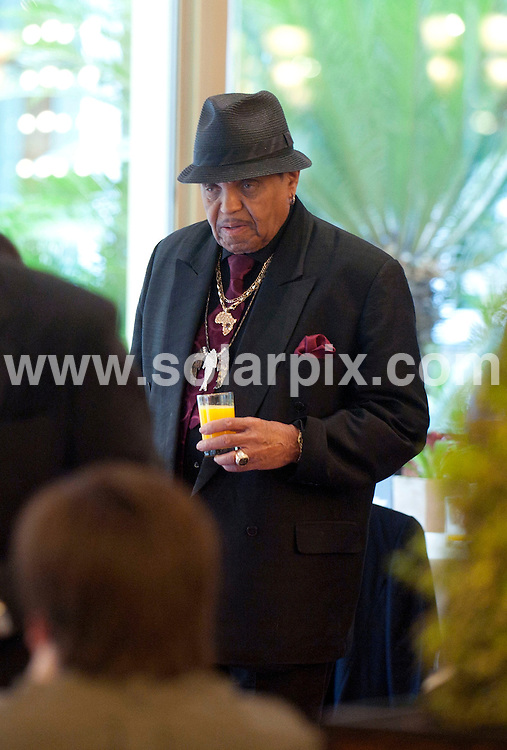 """**ALL ROUND EXCLUSIVE PICTURES FROM SOLARPIX.COM**                                             **WORLDWIDE SYNDICATION RIGHTS EXCEPT SPAIN AND PORTUGAL -  NO SYNDICATION IN SPAIN **                                                                                  Caption: Michael Jackson father Joseph having breakfast with and the Honorary Chairman of the Jackson Family Foundation  whilst attending the presentation of an agreement signed between the Jackson Family Foundation and the musical """"Forever King of Pop"""" of the Summum Music producer Carlos J Lee at the Hotel Continental in Madrid Spain..this is Joseph's first time ever in Spain                                                                      This pic:  Joseph Jackson                                                                                            JOB REF:12988        DMS/Drake       DATE: 18.03.2011                                                           **MUST CREDIT SOLARPIX.COM OR DOUBLE FEE WILL BE CHARGED**                                                                      **MUST AGREE FEE BEFORE ONLINE USAGE**                               **CALL US ON: +34 952 811 768 or LOW RATE FROM UK 0844 617 7637**"""