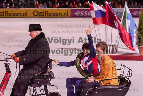 Netherlands' Sven Kramer celebrates his victory on the Speed Skating All-round European Championships in Budapest, Hungary on January 8, 2012. ATTILA VOLGYI