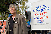 Dr Wendy Savage addresses a rally against cuts in the NHS and privitisation of the health service, Oxford