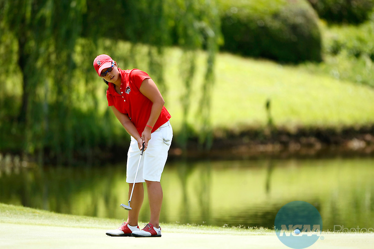 21 MAY 2010:  Britney Choy of the University of New Mexico putts on hole 16 during the Division I Women's Golf Championship held at the Country Club of Landfall-Dye Course in Wilmington, NC.  Choy tied for 54th place with a +10 score.  Jamie Schwaberow /NCAA Photos