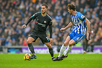 Eden Hazard of Chelsea (10) and Dale Stephens of Brighton & Hove Albion (6)   during the Premier League match between Brighton and Hove Albion and Chelsea at the American Express Community Stadium, Brighton and Hove, England on 20 January 2018. Photo by Edward Thomas / PRiME Media Images.