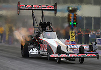 Apr 29, 2016; Baytown, TX, USA; NHRA top fuel driver Steve Torrence during qualifying for the Spring Nationals at Royal Purple Raceway. Mandatory Credit: Mark J. Rebilas-USA TODAY Sports