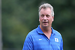 24 August 2014: Duke head coach Robbie Church. The Duke University Blue Devils played the Stanford University Cardinal at Fetzer Field in Chapel Hill, NC in a 2014 NCAA Division I Women's Soccer match. Stanford won the game 2-0.