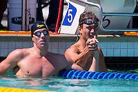 Santa Clara, California - Sunday June 5, 2016:  Nathan Adrian races in the Men's 100 LC Meter Backstroke at the Arena Pro Swim Series at Santa Clara morning session.