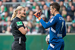13.04.2019, Weser Stadion, Bremen, GER, 1.FBL, Werder Bremen vs SC Freiburg, <br /> <br /> DFL REGULATIONS PROHIBIT ANY USE OF PHOTOGRAPHS AS IMAGE SEQUENCES AND/OR QUASI-VIDEO.<br /> <br />  im Bild<br /> Alexander Schwolow (SC Freiburg #01)<br /> Bibiana Steinhaus (Schiedsrichter / Referee) <br /> <br /> <br /> Foto © nordphoto / Kokenge