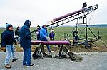 Dennis Lemot attaches his rocket  on his launch platform  at an amateur rocket festival..Manchester, Tennessee.