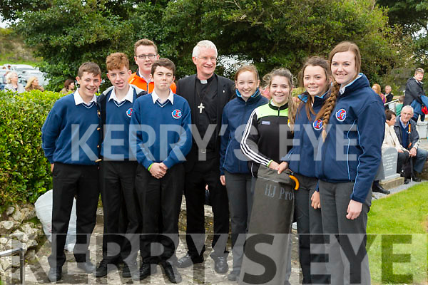Bishop of Kerry Ray Browne with student of Causeway Comprehensive Ruby O'Riordan, Valerie Kiely, Triona Curran, Clodagh O'Carroll, Cillian Dooley, Keith O'Connor, Brian Sheehan and Sean Holden  at the Pattern Day  Mass Ballyeigue on Thursday