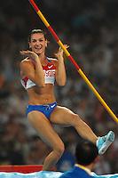 Yelena Isinbayeva, Russia, Gold Medal and World Record 5.05. Women's Pole Vault. Salto con l'asta.National stadium - Bird Nest.Pechino - Beijing 18/8/2008 Olimpiadi 2008 Olympic Games.Foto Andrea Staccioli Insidefoto