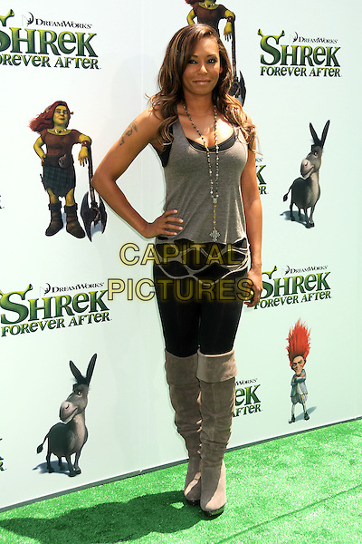 "MELANIE BROWN (MEL B).Attending the ""Shrek Forever After"" Los Angeles Film Premiere held at the Gibson Amphitheatre, Universal City, California, USA, 16th May 2010..arrivals full length hand on hip grey gray vest top ripped holes cut out  black leggings suede otk over the knee high boots necklace .CAP/ADM/BP.©Byron Purvis/AdMedia/Capital Pictures."