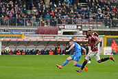 18th March 2018, Stadio Olimpico di Torino, Turin, Italy; Serie A football, Torino versus Fiorentina; Jordan Veretout shoots and scores the goal for 0-1 for Fiorentina in the 59th minute