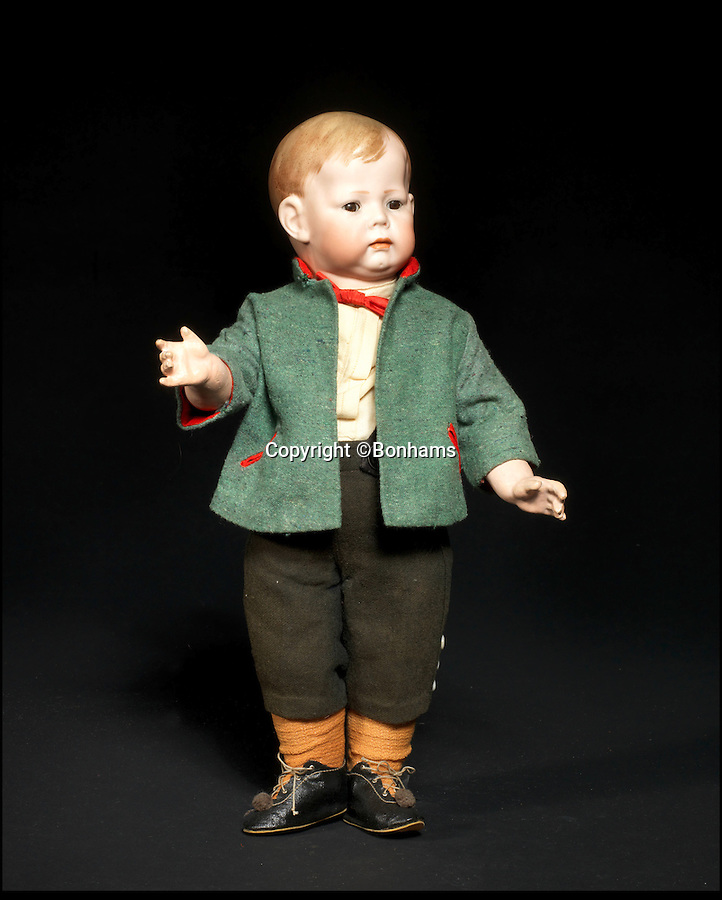 BNPS.co.uk (01202 558833)<br /> Pic: Bonhams/BNPS<br /> <br /> ***Please Use Full Byline***<br /> <br /> Kammer & Reinhardt 115 Bisque Head Toddler. <br /> <br /> <br /> A creepy collection of almost 100 'lifelike' dolls modelled on children has emerged for sale with a whopping half a million pounds price tag. <br /> <br /> The eerie-looking toys were made in Germany in the early 20th century as dollmakers strived to produce dolls with realistic human features.<br /> <br /> The collection of 92 dolls, which includes some of the rarest ever made, has been pieced together by a European enthusiast over the past 30 years.<br /> <br /> It is expected to fetch upwards of £500,000 when it goes under the hammer at London auction house Bonhams tomorrow (Weds).
