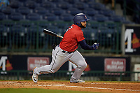 Jacksonville Jumbo Shrimp Justin Twine (2) during a Southern League game against the Mississippi Braves on May 4, 2019 at Trustmark Park in Pearl, Mississippi.  Mississippi defeated Jacksonville 2-0.  (Mike Janes/Four Seam Images)