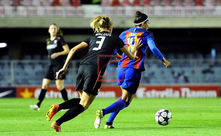 UEFA Women's Champions League 2016/2017.<br /> Round of 16 - First Leg<br /> FC Barcelona vs Twente: 1-0.<br /> Waldus vs Jennifer Hermoso.