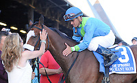 So Many Ways (no. 3), ridden by Javier Castellano and trained by Anthony Dutrow, wins the grade 1 Spinaway Stakes for three year old fillies on September 2, 2012 at Saratoga Race Track in Saratoga Springs, New York.  (Bob Mayberger/Eclipse Sportswire)