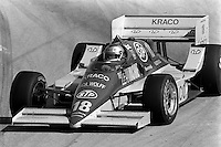 LONG BEACH, CA - APRIL 13: Michael Andretti drives his March 86C 05/Cosworth during the Toyota Grand Prix of Long Beach CART Indy Car race on the temporary Long Beach Street Circuit in Long Beach, California, on April 13, 1986.