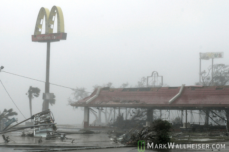 The McDonalds Resturant on US 90 in Biloxi, Mississippi, which sits across the road from the Gulf of Mexico, is in the process of being completely gutted by Hurricane Katrina.  Biloxi was heavily damaged by the category 4 hurricane.
