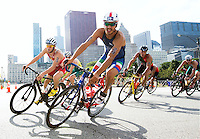 29 JUN 2014 - CHICAGO, USA - Alessandro Fabian (ITA) of Italy takes a corner on the bike during the elite men's ITU 2014 World Triathlon Series round in Grant Park, Chicago in the USA (PHOTO COPYRIGHT © 2014 NIGEL FARROW, ALL RIGHTS RESERVED)