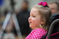 NWA Democrat-Gazette/BEN GOFF @NWABENGOFF<br /> Maggie Alexander, 4, of Rogers smiles Thursday, Feb. 8, 2018, during an event to surprise her with her wish from Make-A-Wish Mid-South at Rogers High. The Rogers High DECA Club and Make-A-Wish Mid-South surprised Maggie, who has been diagnosed with spinal muscular atrophy type II, with a seven-day trip to Disney World. Maggie and her family will leave for their trip in two weeks.