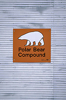 polar bear jail sign, Ursus maritimus, Churchill, Manitoba, Canada, Arctic, polar bear, Ursus maritimus
