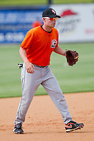 Riley Hornback #8 of the Delmarva Shorebirds takes ground balls at third base prior to the game against the Kannapolis Intimidators at Fieldcrest Cannon Stadium on May 20, 2011 in Kannapolis, North Carolina.   Photo by Brian Westerholt / Four Seam Images