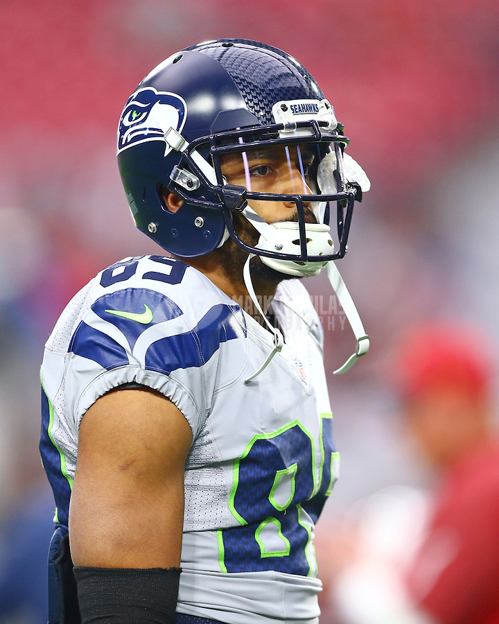 Jan 3, 2016; Glendale, AZ, USA; Seattle Seahawks wide receiver Doug Baldwin (89) against the Arizona Cardinals at University of Phoenix Stadium. Mandatory Credit: Mark J. Rebilas-USA TODAY Sports