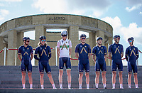 Team Aqua Blue Sport  at the pre race Team Presentation with the World War I memorial, King Albert I monument, in the background. <br /> <br /> <br /> 1st Great War Remembrance Race 2018 (UCI Europe Tour Cat. 1.1) <br /> Nieuwpoort &gt; Ieper (BE) 192.7 km