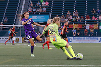 Rochester, NY - Saturday June 11, 2016: Western New York Flash goalkeeper Britt Eckerstrom (28), Orlando Pride forward Alex Morgan (13) during a regular season National Women's Soccer League (NWSL) match between the Western New York Flash and the Orlando Pride at Rochester Rhinos Stadium.