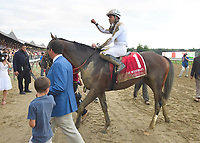 Yoshida (no. 1), ridden by Joel Rosario and trained by William Mott, wins the 65th running of the grade 1 Woodward Stakes for three year olds and upward on September 01, 2018 at Saratoga Race Course in Saratoga Springs, New York. (Bob Mayberger/Eclipse Sportswire)