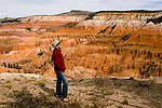 Woman at Cedar Breaks National Monument, Utah, UT, view, vista from Point Supreme, nature, landscape, erosion, arid, model released, Image ut308-18863, Photo copyright: Lee Foster, www.fostertravel.com, lee@fostertravel.com, 510-549-2202