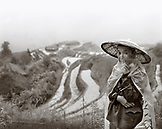 CHINA, portrait of a male farmer at the Dragon Backbone Rice Terraces (B&W)