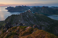 View over mountain landscape from summit of Moltind (696 meters), Flakstadøy, Lofoten Islands, Norway