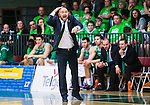 S&ouml;dert&auml;lje 2015-04-19 Basket SM-Final 1 S&ouml;dert&auml;lje Kings - Uppsala Basket :  <br /> S&ouml;dert&auml;lje Kings tr&auml;nare headcoach coach Vedran Bosnic reagerar under matchen mellan S&ouml;dert&auml;lje Kings och Uppsala Basket <br /> (Foto: Kenta J&ouml;nsson) Nyckelord:  S&ouml;dert&auml;lje Kings SBBK T&auml;ljehallen Basketligan SM SM-Final Final Uppsala Basket portr&auml;tt portrait tr&auml;nare manager coach