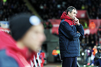 Swansea manager Paul Clement stands on the touch line during the Premier League match between Swansea City and Manchester City at The Liberty Stadium, Swansea, Wales, UK. Wednesday 13 December 2017