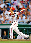 21 June 2011: Washington Nationals shortstop Ian Desmond in action against the Seattle Mariners at Nationals Park in Washington, District of Columbia. The Nationals rallied from a 5-1 deficit, scoring 5 runs in the bottom of the 9th, to defeat the Mariners 6-5 in inter-league play. Mandatory Credit: Ed Wolfstein Photo