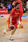 Sergio Llull of Spain warms up before the Friendly match between Spain and Dominican Republic at WiZink Center in Madrid, Spain. August 22, 2019. (ALTERPHOTOS/A. Perez Meca)