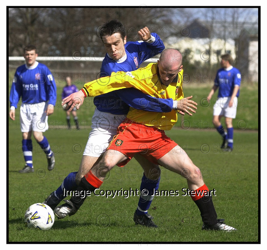 27th April 2001   Copyright Pic : James Stewart .Ref :                           .File Name : stewart04-albion rovers v cowdenbeath.COWDENBEATH'S MURRAY MCDOWALL CHALLENGES COLIN WALDIE.... .James Stewart Photo Agency, Stewart House, Stewart Road, Falkirk. FK2 7AS      Vat Reg No. 607 6932 25.Office : +44 (0) 1324 630007     Mobile : 07721 416997.Fax     :  +44 (0) 1324 630007.E-mail : jim@jspa.co.uk.If you require further information then contact Jim Stewart on any of the numbers above.........