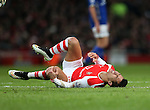 Arsenal's Alexis Sanchez gets a bang on his knee<br /> <br /> Barclays Premier League- Arsenal vs Leicester City  - Emirates Stadium - England - 10th February 2015 - Picture David Klein/Sportimage
