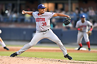 Hagerstown Suns starting pitcher Francys Peguero (38) delivers a pitch during a game against the Asheville Tourists at McCormick Field on April 30, 2019 in Asheville, North Carolina. The Tourists defeated the Suns 5-4. (Tony Farlow/Four Seam Images)