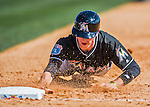 7 March 2016: Miami Marlins infielder J.T. Riddle dives safely back to first during a Spring Training pre-season game against the Washington Nationals at Space Coast Stadium in Viera, Florida. The Nationals defeated the Marlins 7-4 in Grapefruit League play. Mandatory Credit: Ed Wolfstein Photo *** RAW (NEF) Image File Available ***