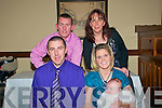 Christening: Baby Aideen Carey, daughter of Aidan & Leisha Carey, Listowel who was christened at St. Mary's Church. Listowel on Saturday by Fr. Declan O'Connor, P.P. Listowel on saturday at 4.00 pm and afterwards at the Listowel Arms Hotel. Front : Aidan & Leisha & Aideen Carey. Back : God parents Mikey Paul Kelliher & Nicola Carey-Wynne.