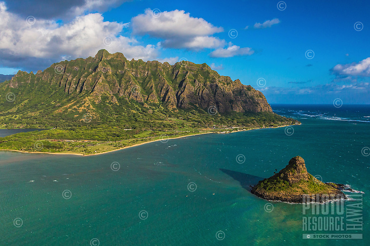 A view of Chinaman's Hat and the Ko'olau Mountains during a morning helicopter tour, Windward O'ahu.