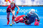 Krefeld, Germany, May 19: During the Final4 Gold Medal fieldhockey match between Duesseldorfer HC and Club an der Alster on May 19, 2019 at Gerd-Wellen Hockeyanlage in Krefeld, Germany. (worldsportpics Copyright Dirk Markgraf) *** Pia Lhotak #5 of Duesseldorfer HC, Amy Gibson #30 of Club an der Alster
