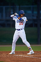 AZL Dodgers Mota Alex De Jesus (25) at bat during an Arizona League game against the AZL Giants Orange on June 29, 2019 at Camelback Ranch in Glendale, Arizona. The AZL Giants Orange defeated the AZL Dodgers Mota 9-3. (Zachary Lucy/Four Seam Images)