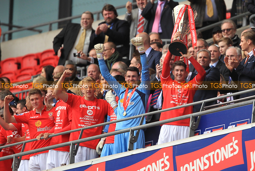 Crewe Alexandra lift the trophy - Crewe Alexandra vs Southend United - Johnstones Paint Trophy Final at Wembley Stadum, London - 07/04/13 - MANDATORY CREDIT: Simon Roe/TGSPHOTO - Self billing applies where appropriate - 0845 094 6026 - contact@tgsphoto.co.uk - NO UNPAID USE