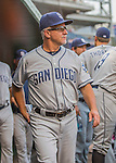 23 July 2016: San Diego Padres coach Eddie Rodriguez stands in the dugout prior to a game against the Washington Nationals at Nationals Park in Washington, DC. The Nationals defeated the Padres 3-2 to tie their series at one game apiece. Mandatory Credit: Ed Wolfstein Photo *** RAW (NEF) Image File Available ***