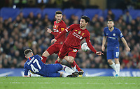 Liverpool's Takumi Minamino is challenged by Chelsea's Billy Gilmour<br /> <br /> Photographer Rob Newell/CameraSport<br /> <br /> The Emirates FA Cup Fifth Round - Chelsea v Liverpool - Tuesday 3rd March 2020 - Stamford Bridge - London<br />  <br /> World Copyright © 2020 CameraSport. All rights reserved. 43 Linden Ave. Countesthorpe. Leicester. England. LE8 5PG - Tel: +44 (0) 116 277 4147 - admin@camerasport.com - www.camerasport.com