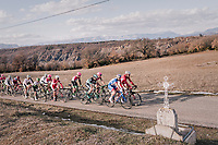 peloton with the Alps in the background<br /> <br /> 76th Paris-Nice 2018<br /> stage 5: Salon-de-Provence &gt; Sisteron (165km)