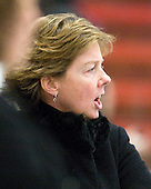 Katey Stone (Harvard - Head Coach) - The Harvard University Crimson defeated the St. Lawrence University Saints 8-3 (EN) to win their ECAC Quarterfinals on Saturday, February 26, 2011, at Bright Hockey Center in Cambridge, Massachusetts.