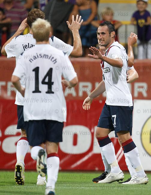 Juan Maanuel Ortiz celebrates his goal for Rangers