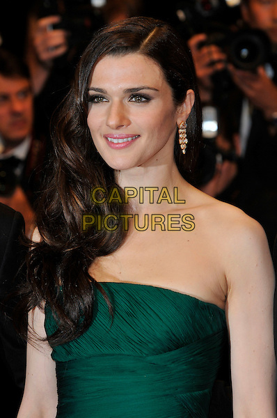 RACHEL WEISZ.'Agora' screening.62nd International Cannes Film Festival.Cannes, France. 17th May 2009.portrait headshot strapless green gold earring dangly hair on one side wavy .CAP/PL.©Phil Loftus/Capital Pictures